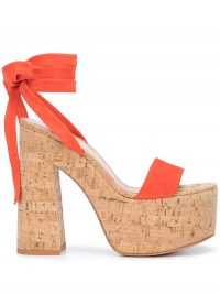 GIANVITO ROSSI Ric platform sandals in Orange / ankle tie platforms