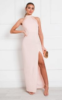 Ikrush Gillian Bodycon High Neck Maxi Dress in Blush