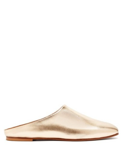 EMME PARSONS Glider metallic gold-leather slide slippers