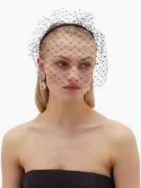 STEPHEN JONES Glow crystal-embellished veiled headband in black ~ glam evening accessories
