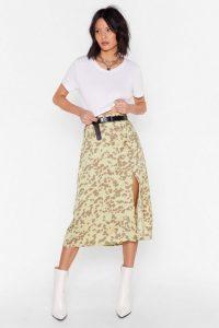 NASTY GAL Go Wild Animal Midi Skirt Sage