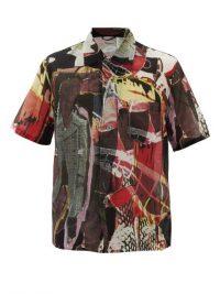 OUR LEGACY Graffiti-print cotton shirt / men's short sleeve shirts