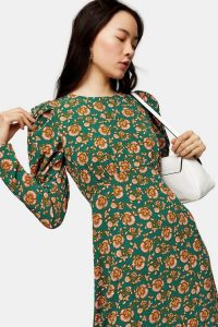 Topshop Green Paisley Volume Sleeve Midi Dress