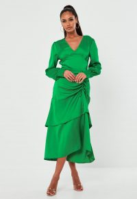 MISSGUIDED green satin ruched side tiered midi dress