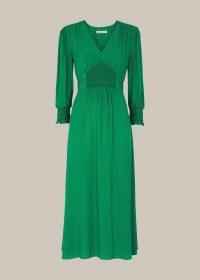 WHISTLES ZENNA SHIRRED WAIST DRESS – green dresses
