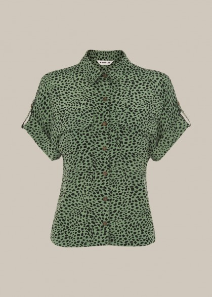 WHISTLES SPOTTED ANIMAL POCKET SHIRT GREEN/MULTI