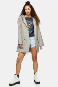 Festival coat – TOPSHOP Grey Rain Mac – hooded macs