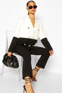 80s Fashion – Half & Half Oversized Dad Blazer – boohoo