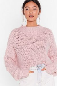 Pink Sweater – NASTY GAL Have Knit All Crew Neck Jumper