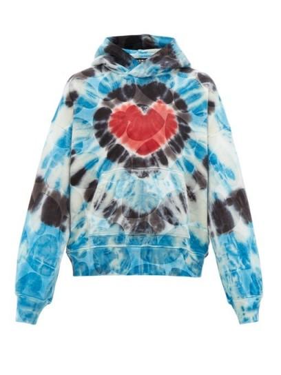 AMIRI Hearts tie-dyed cotton hooded sweatshirt