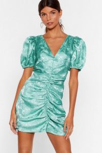NASTY GAL Hey There Hot Puff Satin Jacquard Dress in Teal – ruched party dresses