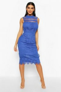 boohoo High Neck Crochet Lace Bodycon Midi Dress in Cobalt