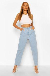 High Waist Frayed Hem Vintage Wash Mom Jeans – boohoo