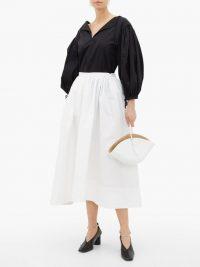 JIL SANDER High-rise organic cotton-poplin midi skirt in white ~ voluminous skirts