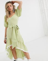 Green check dress – House Of Stars high low tea dress with statement sleeves in lime gingham