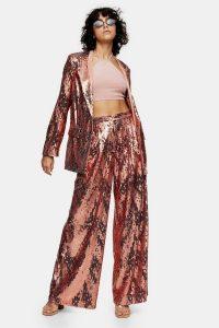 TOPSHOP IDOL Copper Sequin Wide Leg Trousers / metallic pants