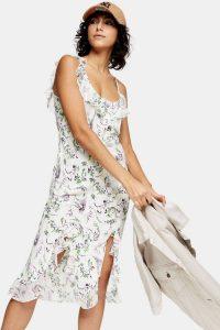 TOPSHOP IDOL Ivory Floral Slip Dress / ruffled cami dresses