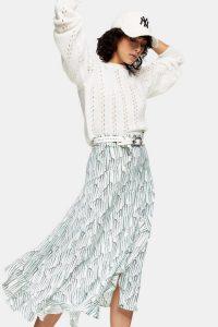 TOPSHOP IDOL Mint Floral Ruffle Midi Skirt