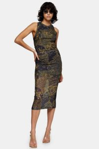 Sheer dress – TOPSHOP IDOL Scenic Mesh Printed Midi Dress Navy Blue