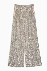 TOPSHOP IDOL Sequin Wide Leg Trousers in Silver / sparkly pants