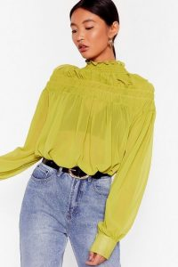 NASTY GAL If It Ain't Got That Swing Chiffon Shirred Blouse in Lime – sheer high neck blouses