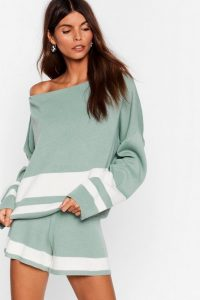 Green Loungewear – NASTY GAL I'll Be Stripe Back Jumper and Shorts Lounge Set in sage