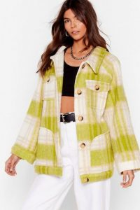 NASTY GAL I'm In a Brushed Oversized Check Jacket in Lime