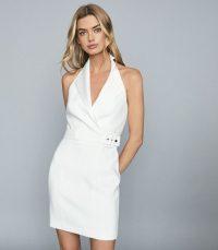 Reiss IMMY TWILL HALTERNECK TUX DRESS WHITE – sexy evening look