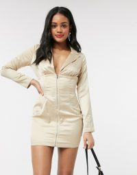 In The Style light gold satin corset waist mini dress – fitted going out dresses