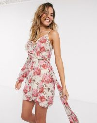 In The Style x Billie Faiers one shoulder asymmetric wrap mini dress in contrast pink floral print