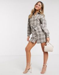 Clothing Store – In The Style x Fashion Influx shirt dress with belt in brown check – ASOS