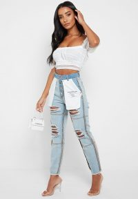 Manière De Voir INSIDE OUT DENIM JEANS WITH DISTRESSING – LIGHT BLUE WASH