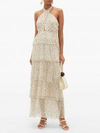SIR Isabella halterneck polka-dot silk-chiffon dress ~ tiered garden party gown