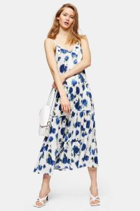 Topshop Ivory Floral Tiered Satin Slip Dress
