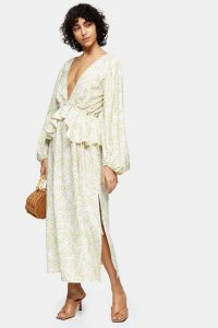 Topshop Ivory Print Double V Maxi Dress