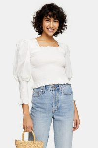 Topshop Ivory Shirred 3/4 Sleeve Top