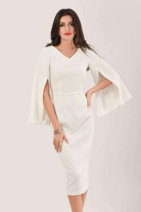 CLOSET IVORY SPLIT SLEEVE V NECK MIDI PENCIL DRESS D5631 ~ cape style occasion dresses