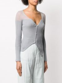 JACQUEMUS asymmetric ribbed cardigan in grey