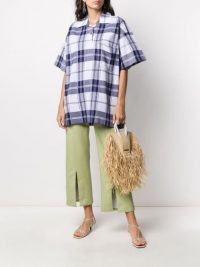 JACQUEMUS Le polo Torchon oversized check shirt in tonal blue