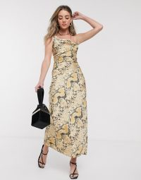 Jagger & Stone maxi slip dress with cowl neck in snake print satin