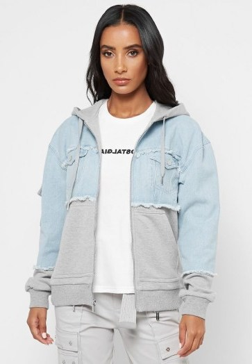 Manière De Voir JERSEY HOODED DENIM JACKET GREY MARL/LIGHT BLUE - flipped