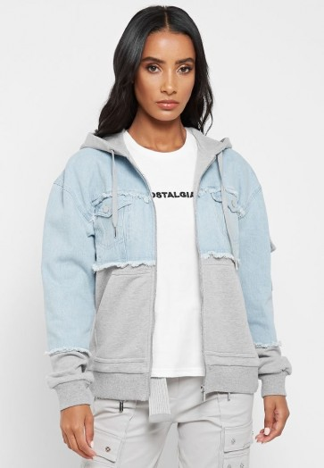 Manière De Voir JERSEY HOODED DENIM JACKET GREY MARL/LIGHT BLUE