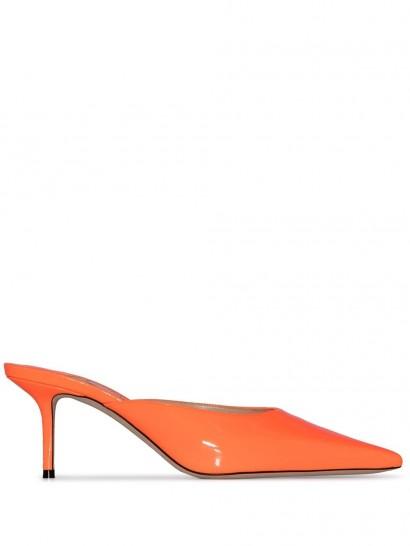 JIMMY CHOO Rav 65mm mules in orange-leather / bright pointed toe mule