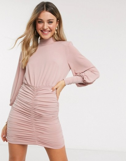 John Zack exclusive high neck ruched skirt mini dress in pink