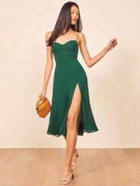 Reformation Juliette Dress in Emerald – front slit dresses