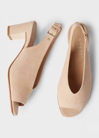 HOBBS KALI SANDAL BLUSH / delicate-pink suede slingback sandals