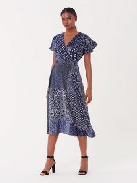 Diane von Furstenberg Kelsey Stretch-Georgette Midi Wrap Dress in Tapestry Navy / classic DVF