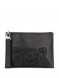KENZO tiger embroidered black leather clutch / men's pouch bags