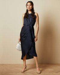 TEDBAKER POHSHAN Keyhole detail midi dress in navy – dark blue occasion dresses