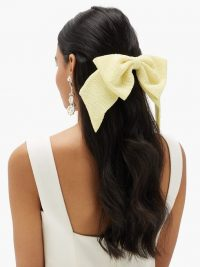 EMILIA WICKSTEAD Knightsbridge oversized seersucker bow in eggshell yellow | large hair bows